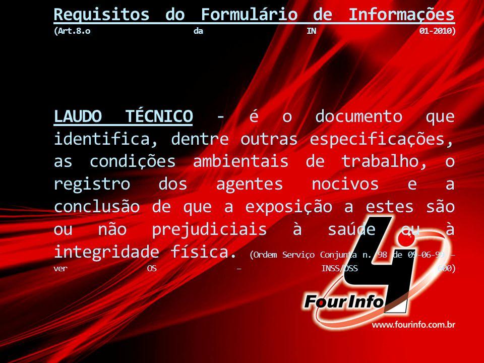 Requisitos do Formulário de Informações (Art. 8