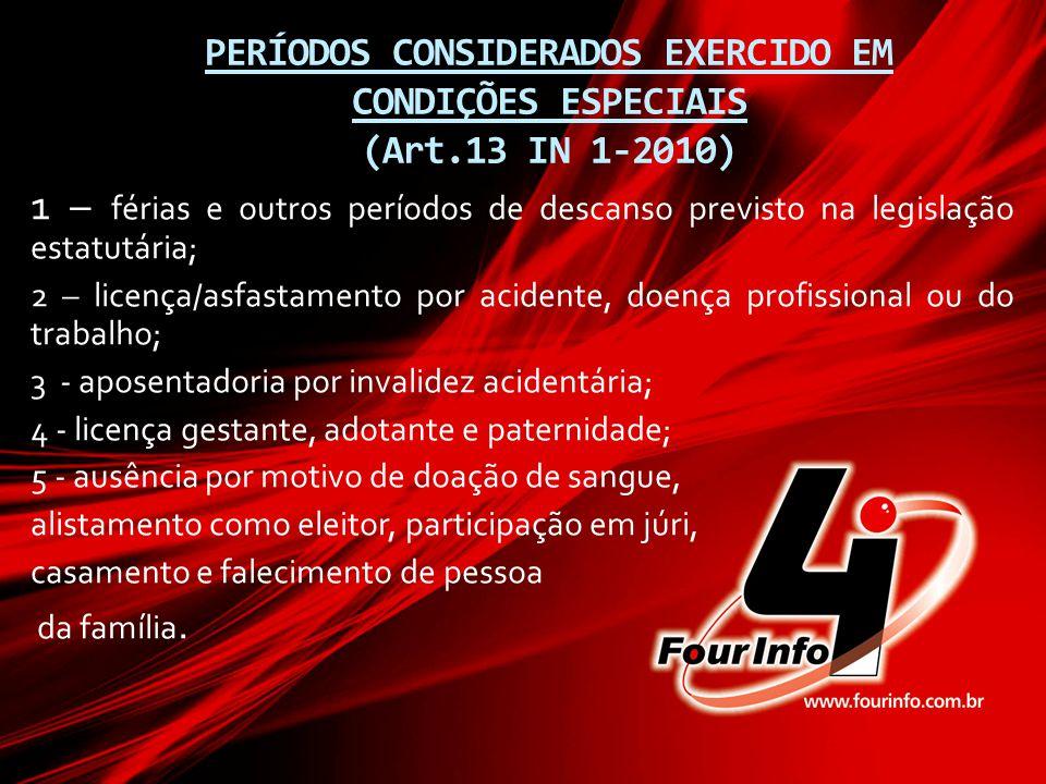PERÍODOS CONSIDERADOS EXERCIDO EM CONDIÇÕES ESPECIAIS (Art