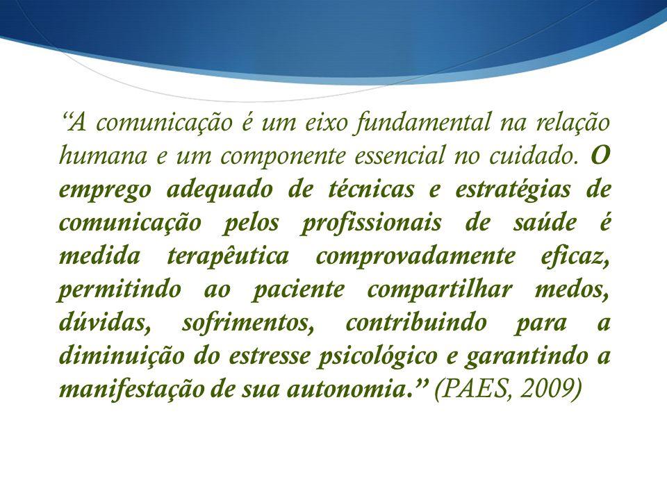 A comunicação é um eixo fundamental na relação humana e um componente essencial no cuidado.