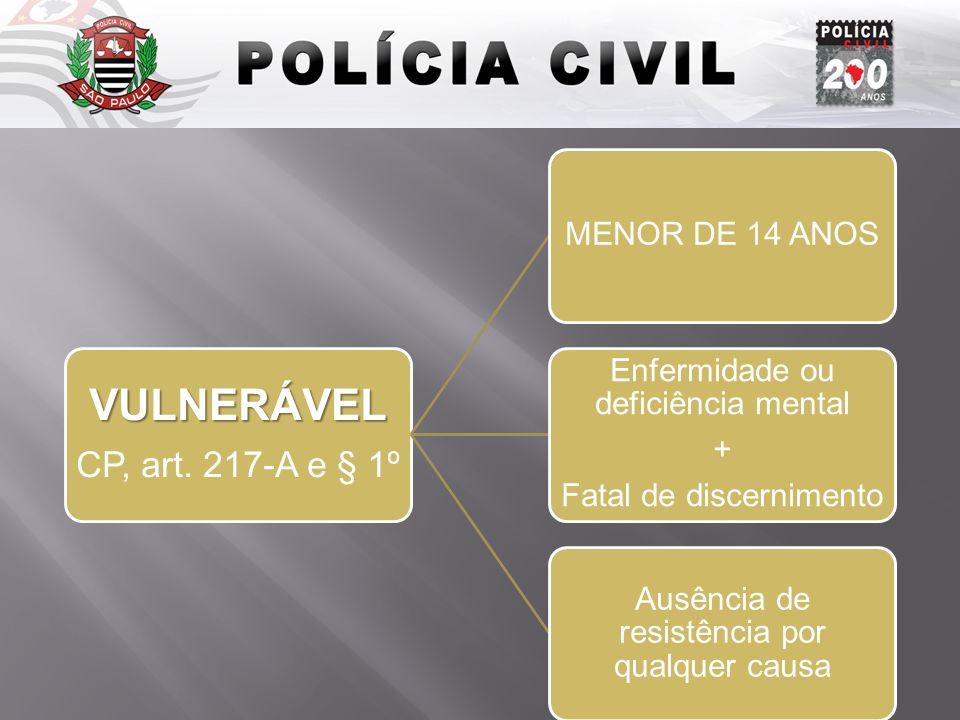 Introdução VULNERÁVEL CP, art. 217-A e § 1º MENOR DE 14 ANOS