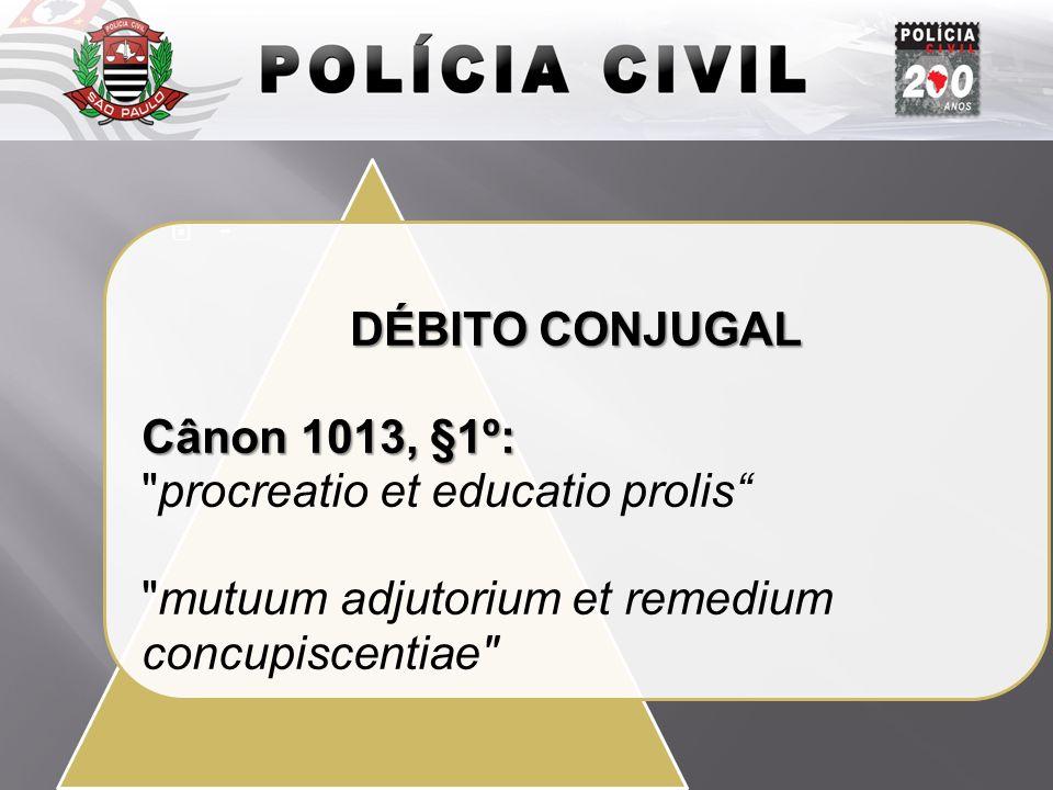 Introdução DÉBITO CONJUGAL Cânon 1013, §1º: