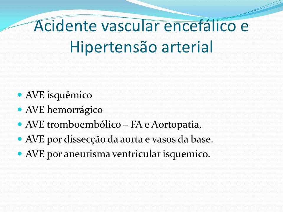 Acidente vascular encefálico e Hipertensão arterial