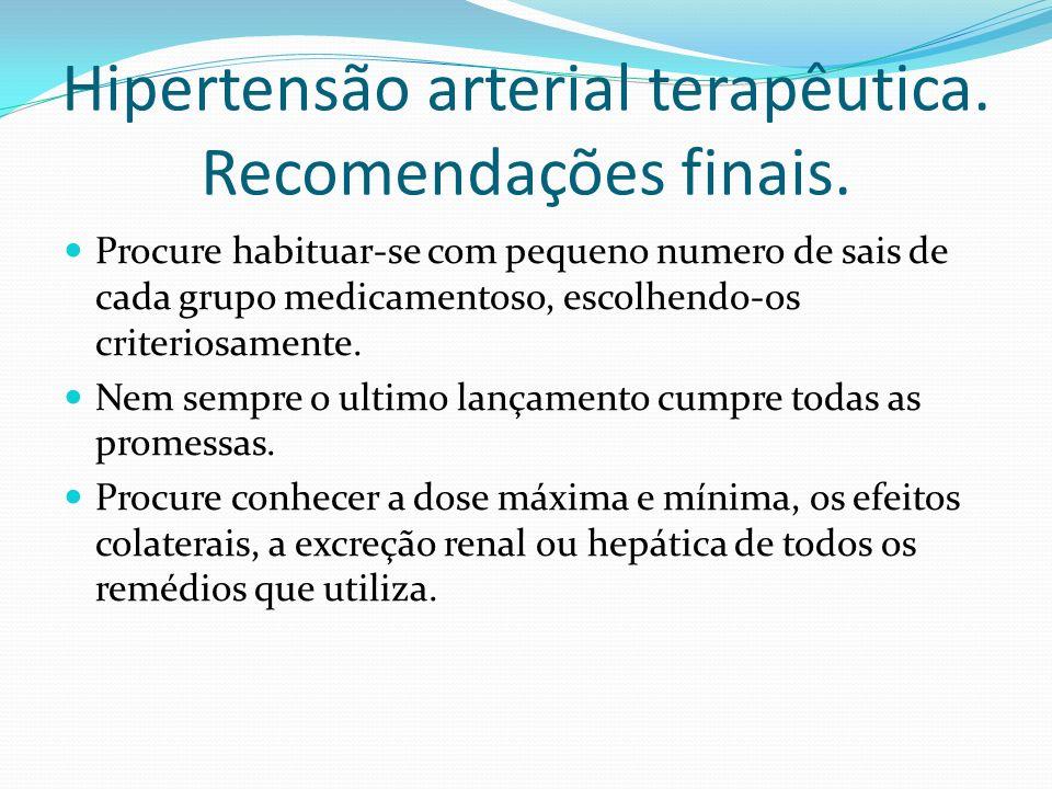 Hipertensão arterial terapêutica. Recomendações finais.