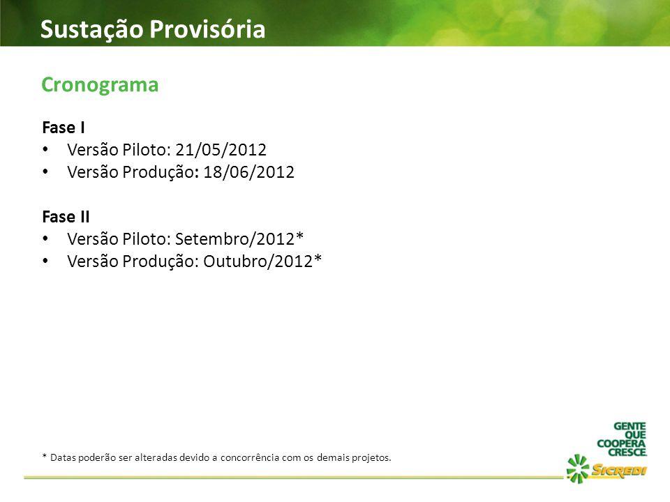 Sustação Provisória Cronograma Fase I Versão Piloto: 21/05/2012