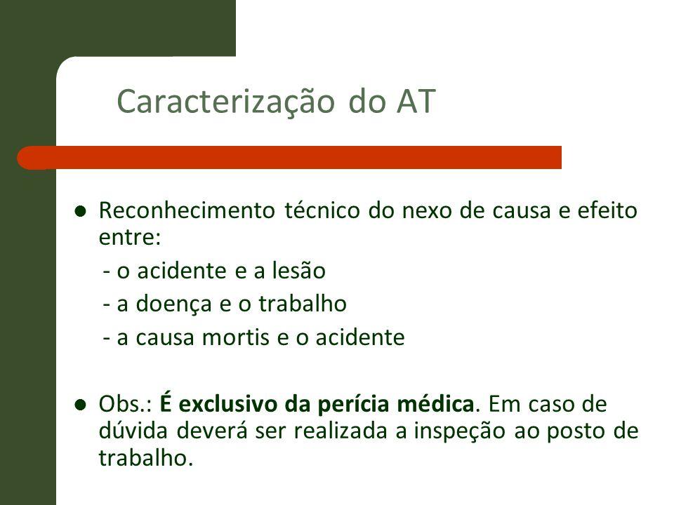 Caracterização do ATReconhecimento técnico do nexo de causa e efeito entre: - o acidente e a lesão.