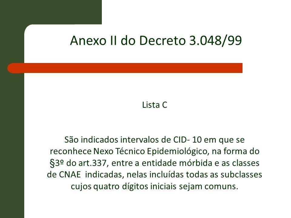 Anexo II do Decreto 3.048/99 Lista C
