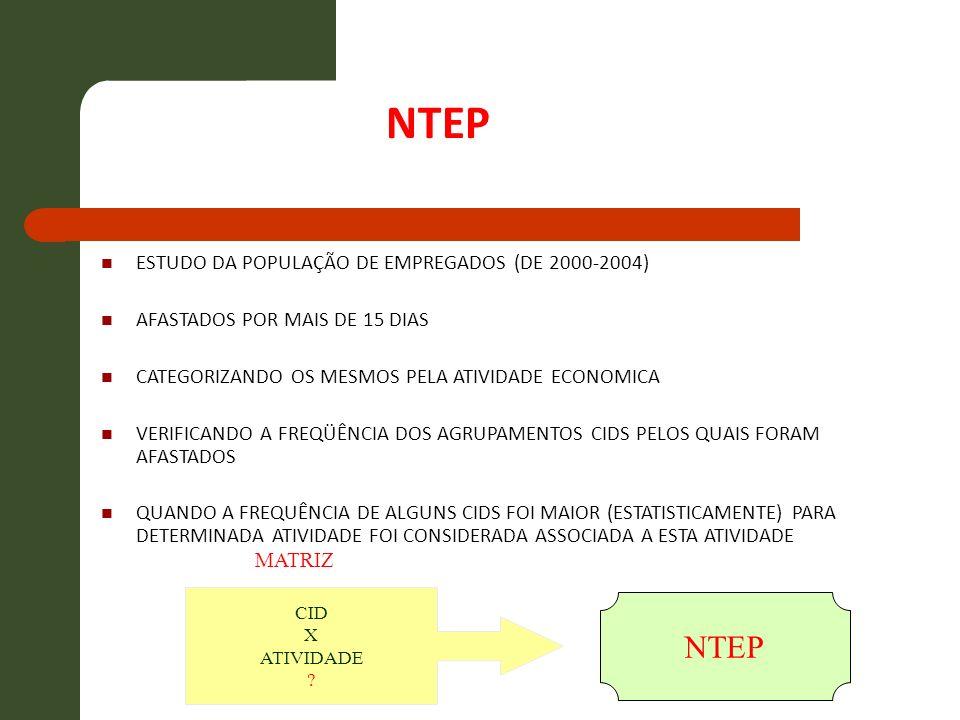 NTEP NTEP ESTUDO DA POPULAÇÃO DE EMPREGADOS (DE 2000-2004)