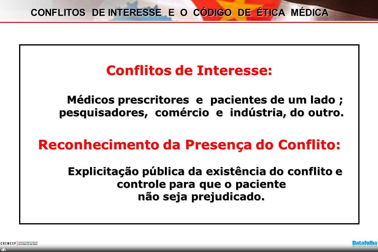 CONFLITOS DE INTERESSE E O CÓDIGO DE ÉTICA MÉDICA