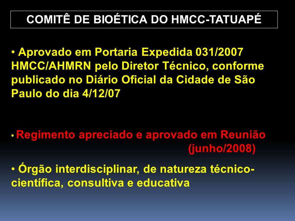 COMITÊ DE BIOÉTICA DO HMCC-TATUAPÉ