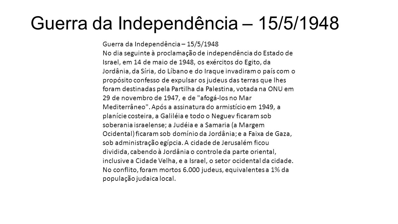 Guerra da Independência – 15/5/1948
