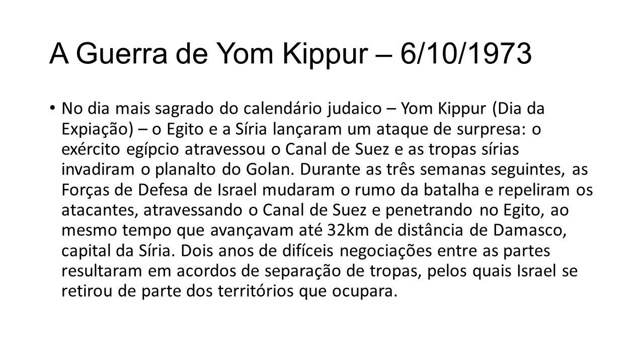A Guerra de Yom Kippur – 6/10/1973