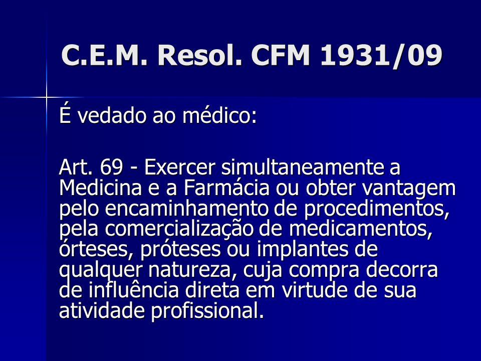 C.E.M. Resol. CFM 1931/09 É vedado ao médico: