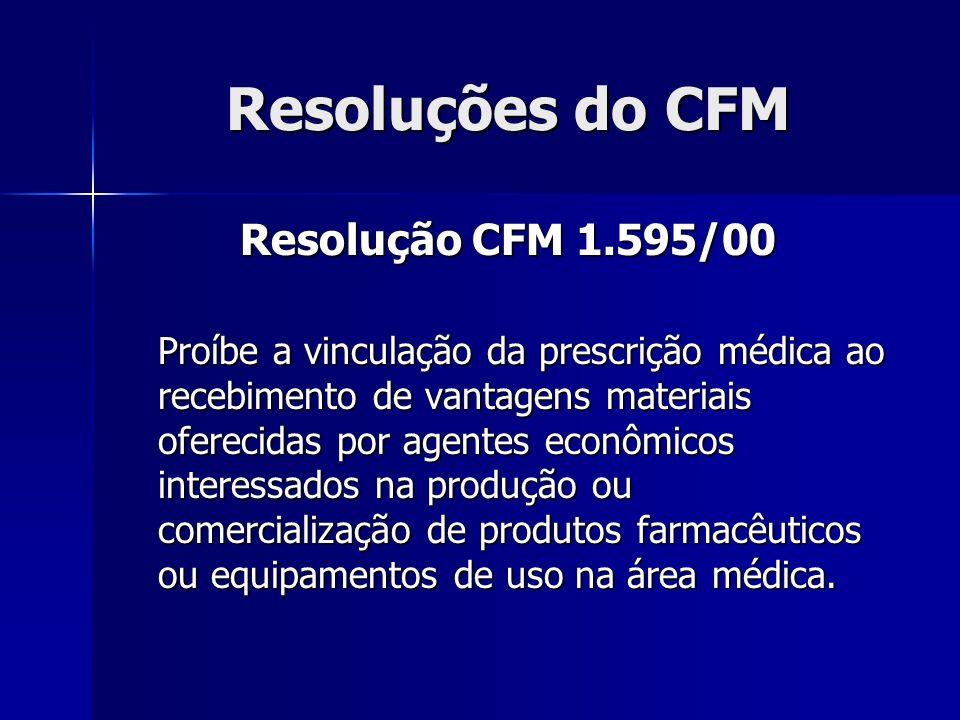 Resoluções do CFM Resolução CFM 1.595/00