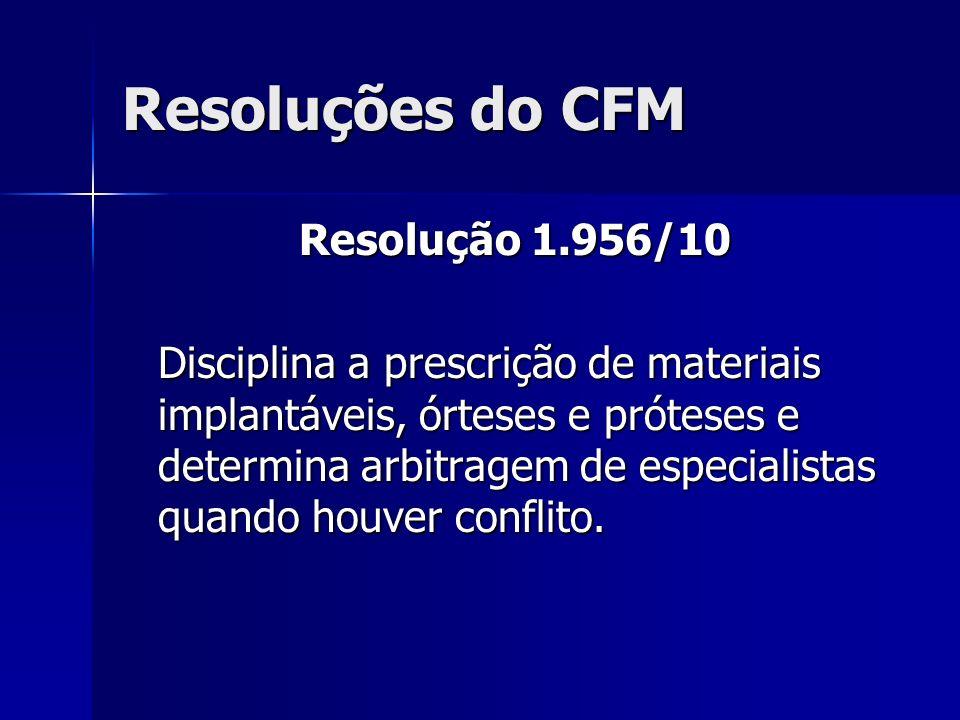 Resoluções do CFM Resolução 1.956/10