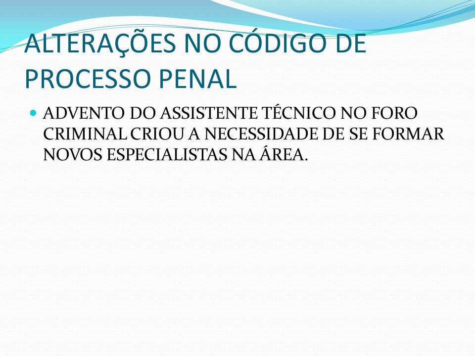 ALTERAÇÕES NO CÓDIGO DE PROCESSO PENAL