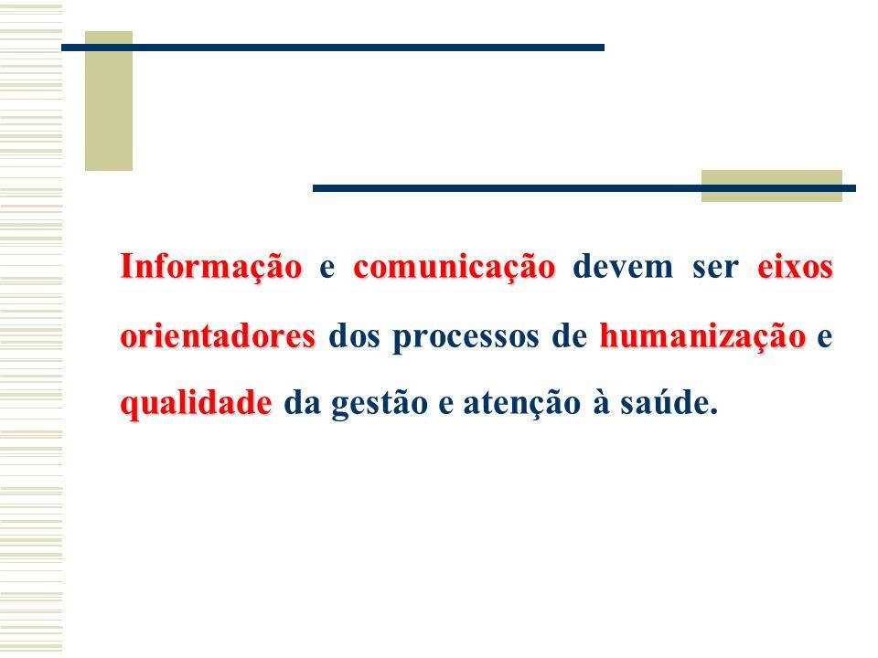 Informação e comunicação devem ser eixos orientadores dos processos de humanização e qualidade da gestão e atenção à saúde.