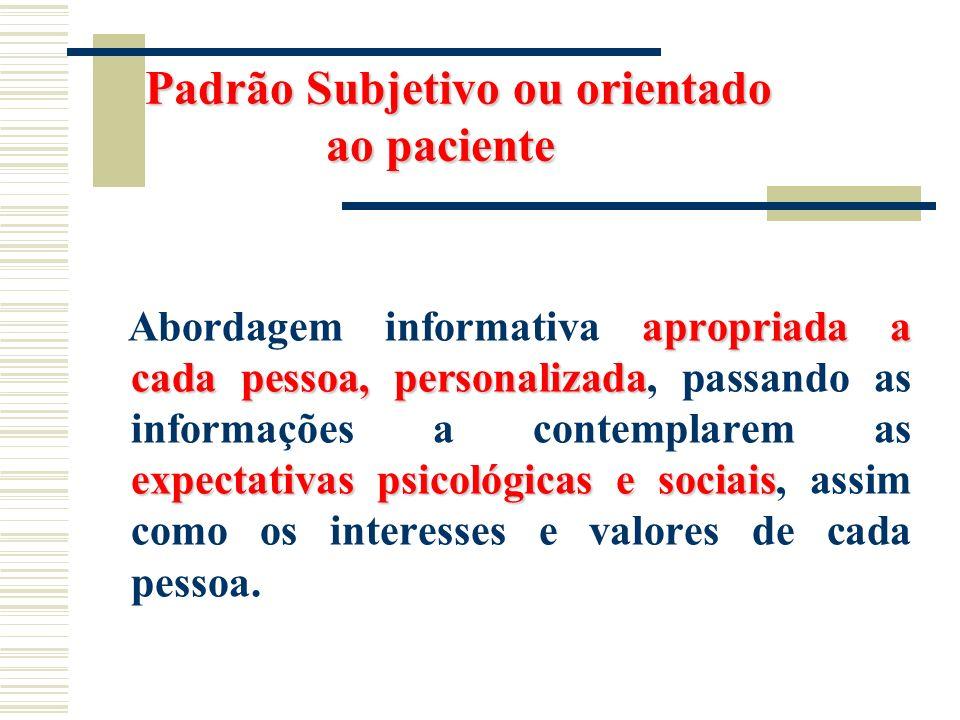 Padrão Subjetivo ou orientado ao paciente