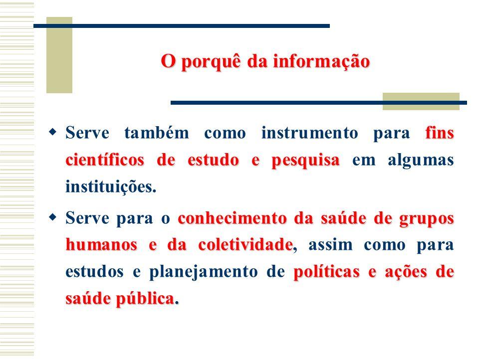 O porquê da informação Serve também como instrumento para fins científicos de estudo e pesquisa em algumas instituições.