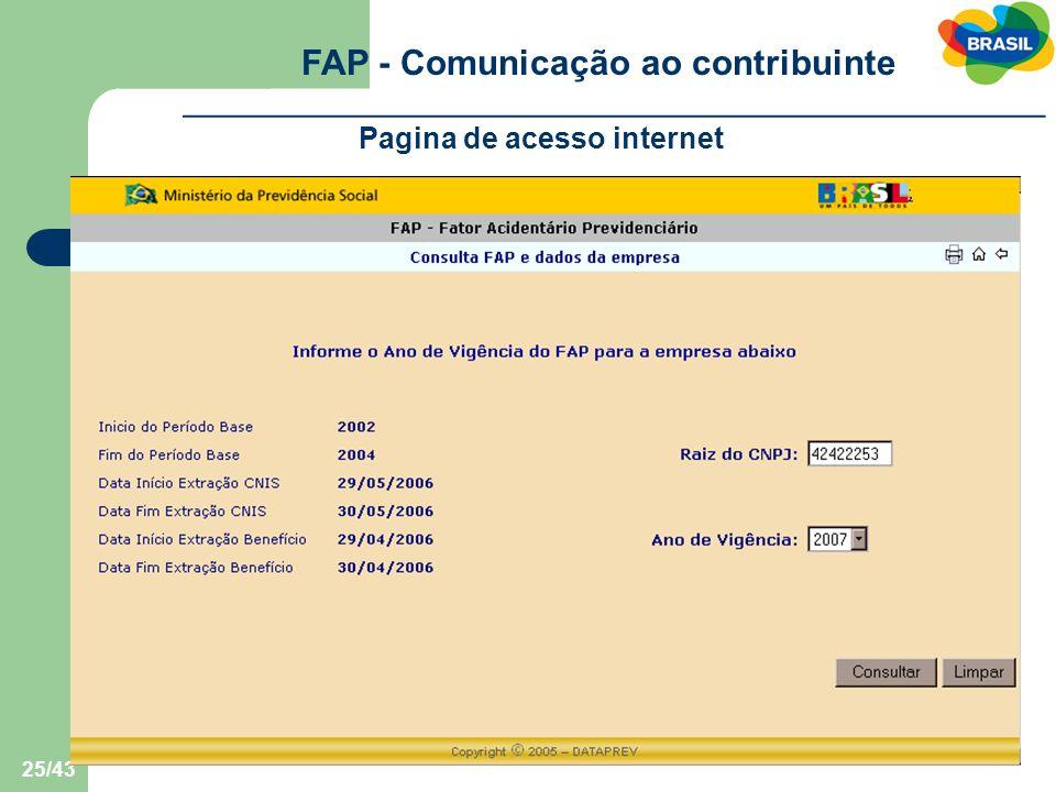 FAP - Comunicação ao contribuinte Pagina de acesso internet