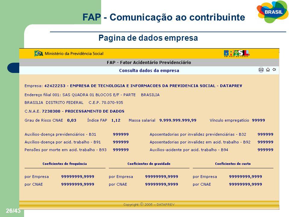 FAP - Comunicação ao contribuinte Pagina de dados empresa