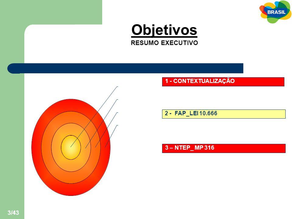 Objetivos RESUMO EXECUTIVO 1 - CONTEXTUALIZAÇÃO 2 - FAP_LEI 10.666