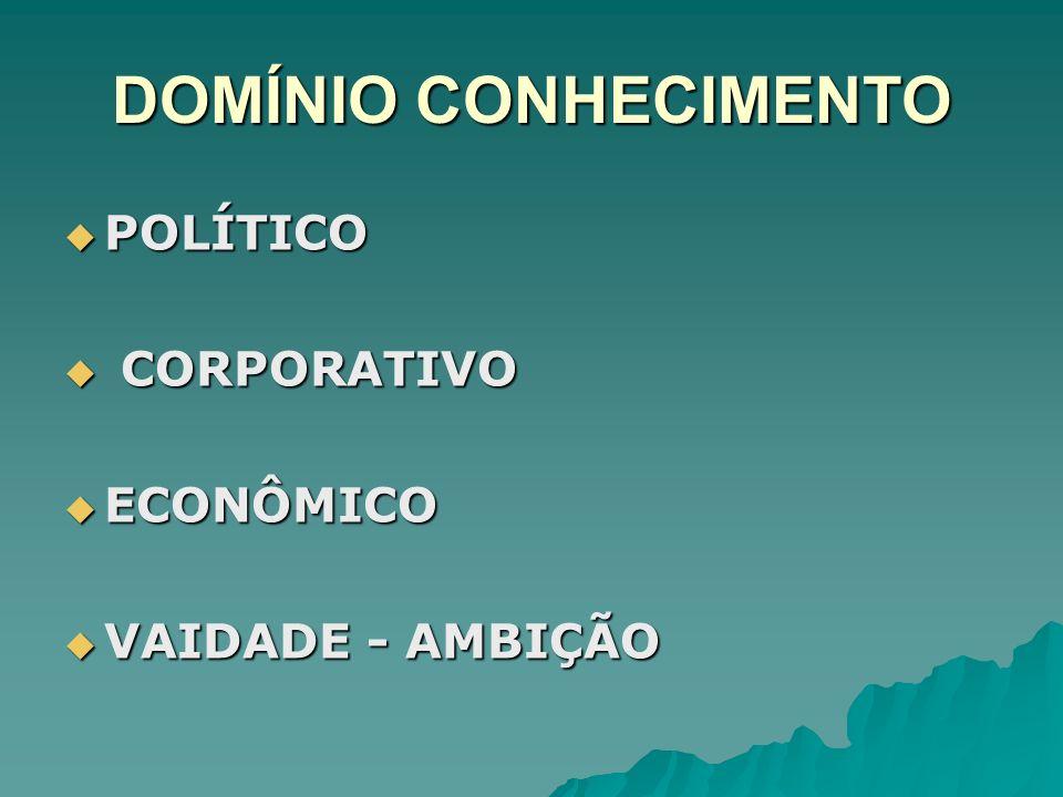 DOMÍNIO CONHECIMENTO POLÍTICO CORPORATIVO ECONÔMICO VAIDADE - AMBIÇÃO