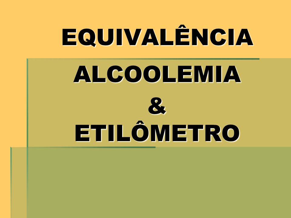 EQUIVALÊNCIA ALCOOLEMIA & ETILÔMETRO