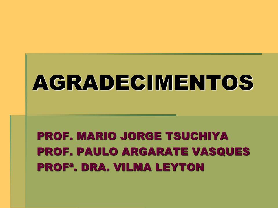 AGRADECIMENTOS PROF. MARIO JORGE TSUCHIYA PROF. PAULO ARGARATE VASQUES