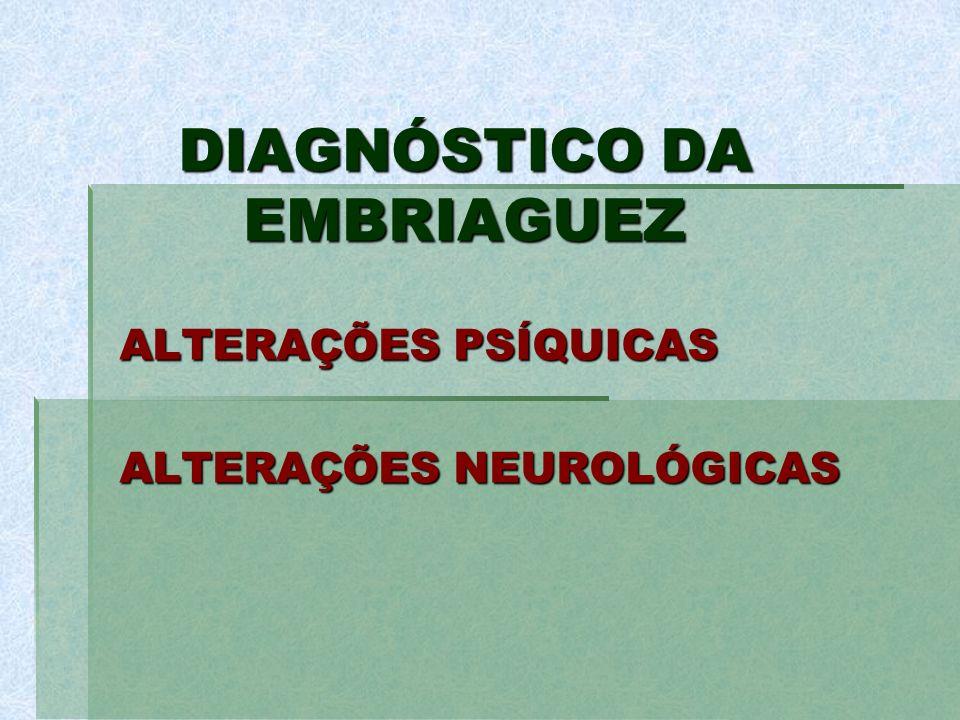 DIAGNÓSTICO DA EMBRIAGUEZ