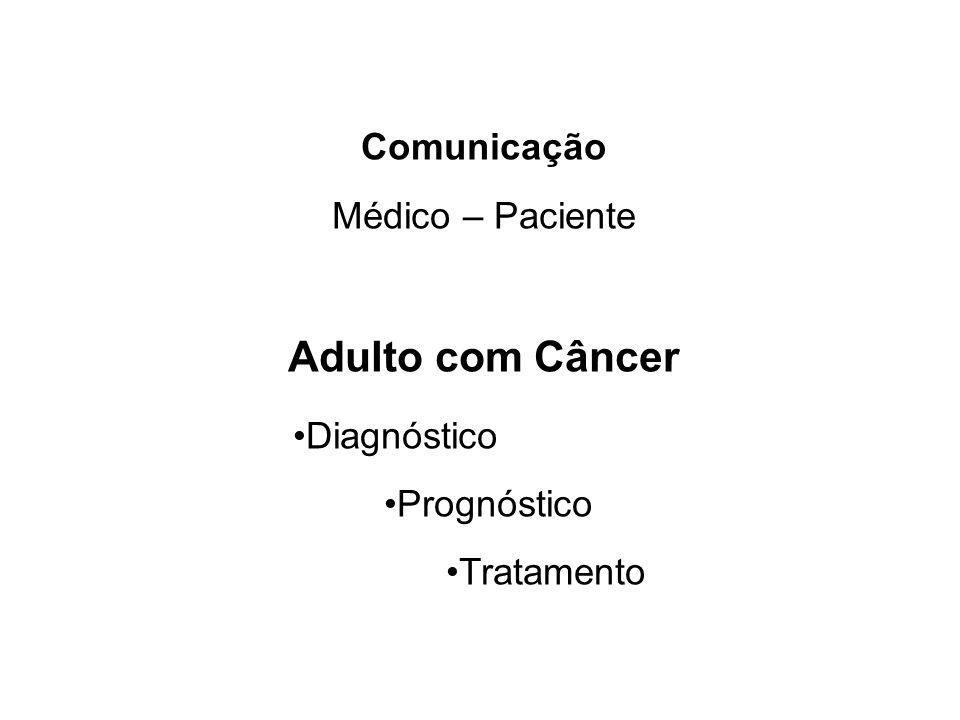 Adulto com Câncer •Diagnóstico Comunicação Médico – Paciente