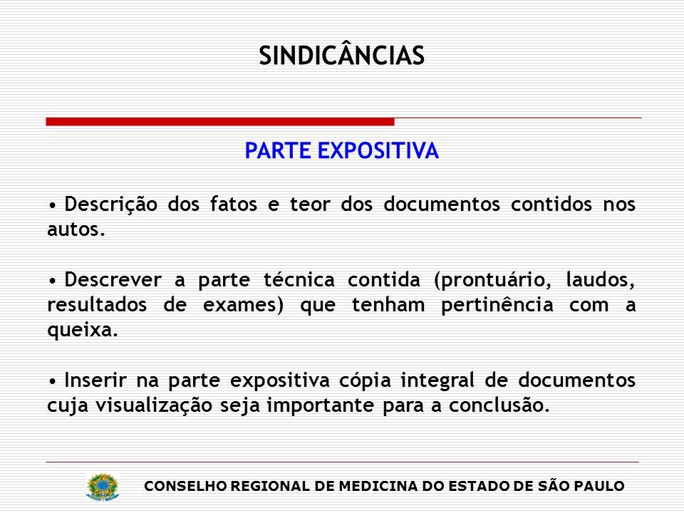 SINDICÂNCIAS PARTE EXPOSITIVA