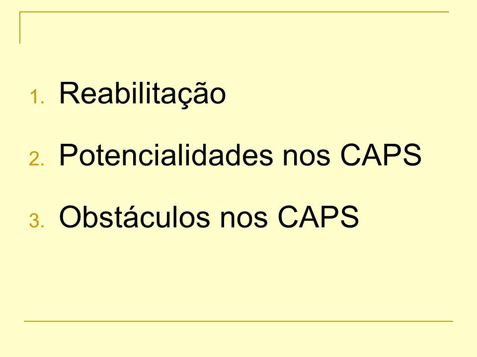 Reabilitação Potencialidades nos CAPS Obstáculos nos CAPS