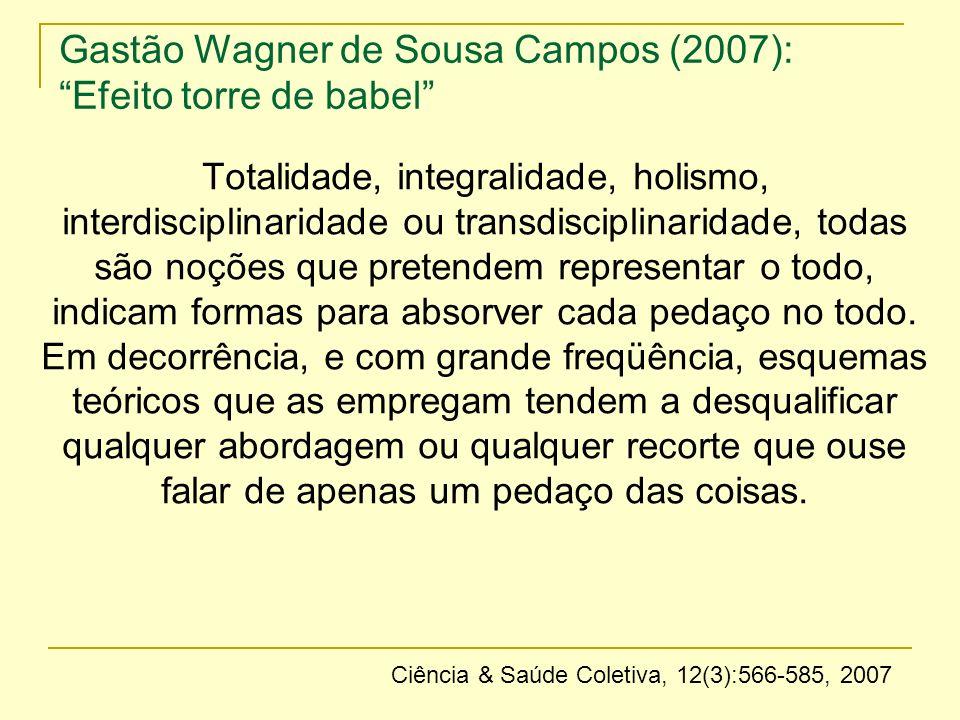 Gastão Wagner de Sousa Campos (2007): Efeito torre de babel