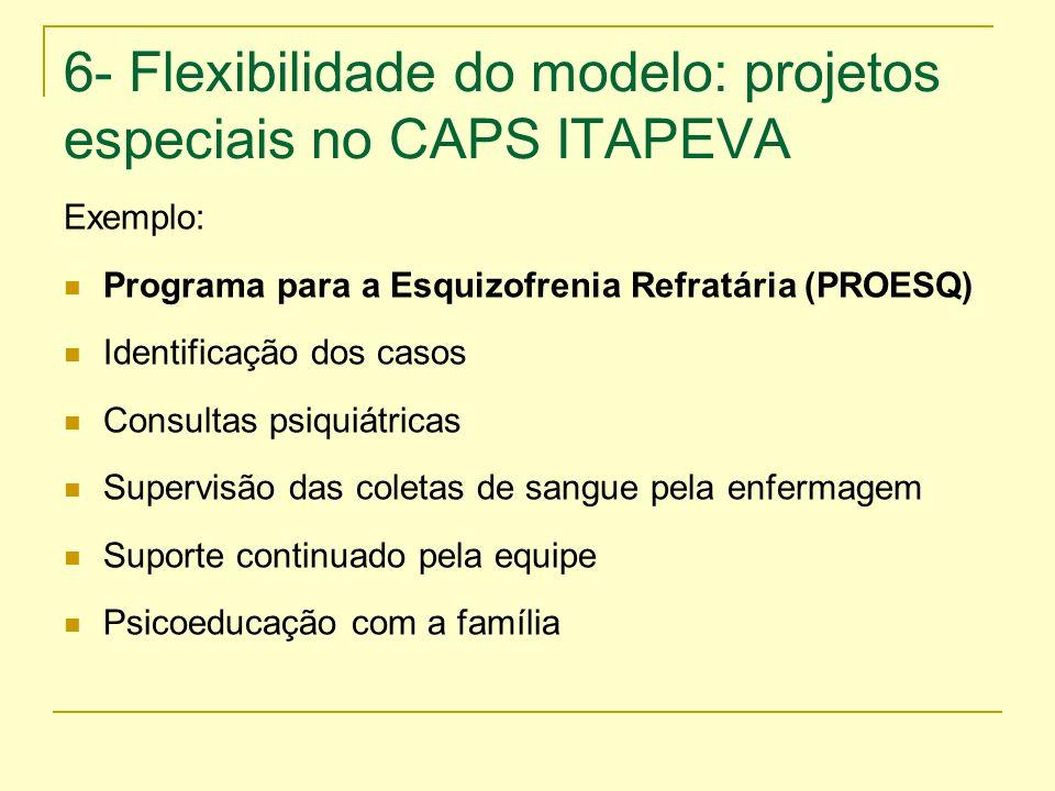 6- Flexibilidade do modelo: projetos especiais no CAPS ITAPEVA