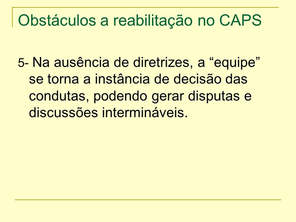 Obstáculos a reabilitação no CAPS