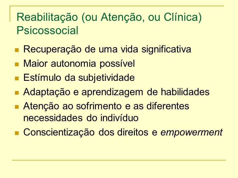 Reabilitação (ou Atenção, ou Clínica) Psicossocial