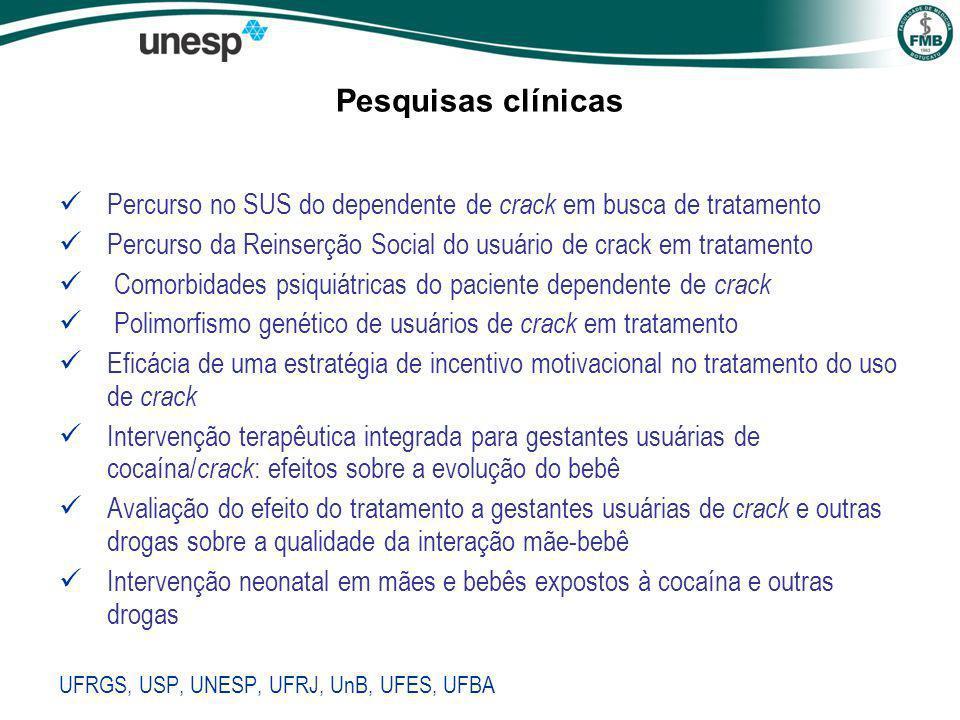 Pesquisas clínicas Percurso no SUS do dependente de crack em busca de tratamento. Percurso da Reinserção Social do usuário de crack em tratamento.