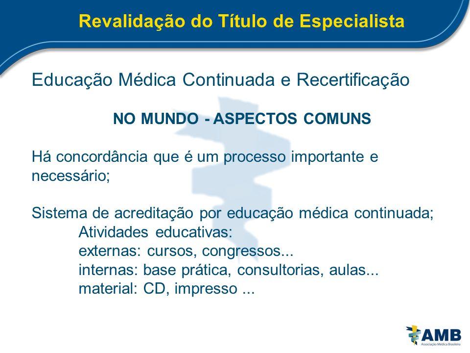 Revalidação do Título de Especialista NO MUNDO - ASPECTOS COMUNS