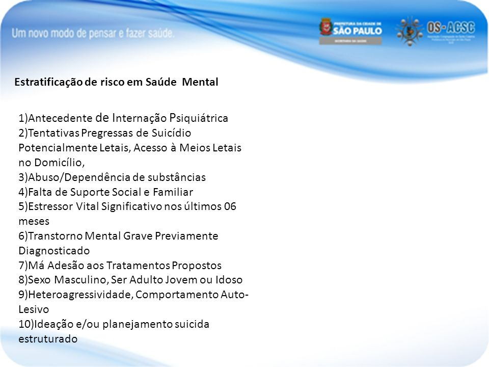 Estratificação de risco em Saúde Mental