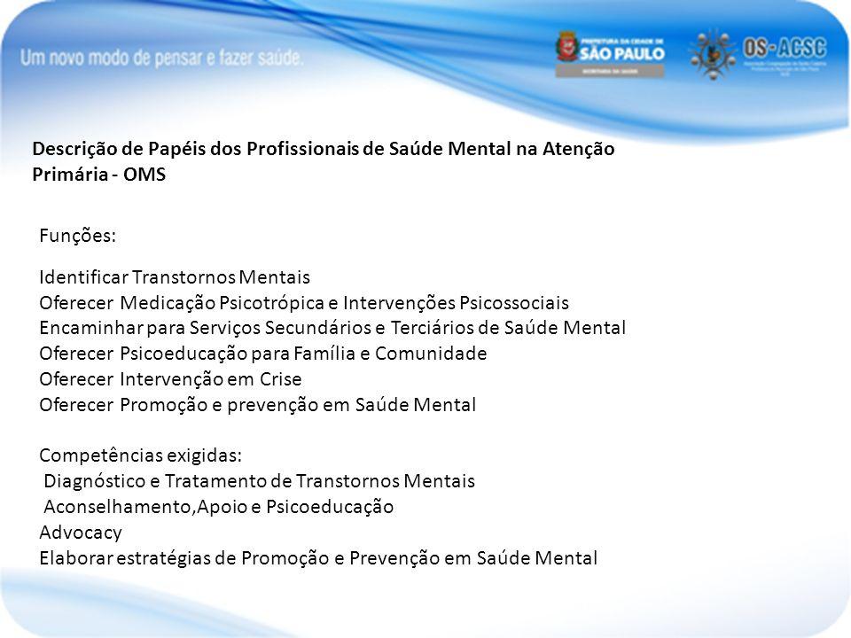 Descrição de Papéis dos Profissionais de Saúde Mental na Atenção Primária - OMS
