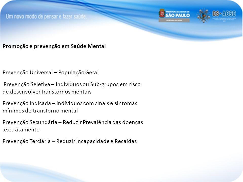 Promoção e prevenção em Saúde Mental