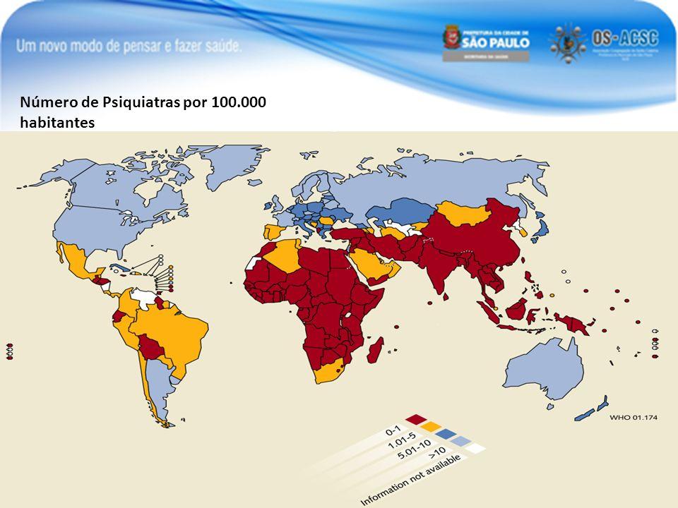 Número de Psiquiatras por 100.000 habitantes