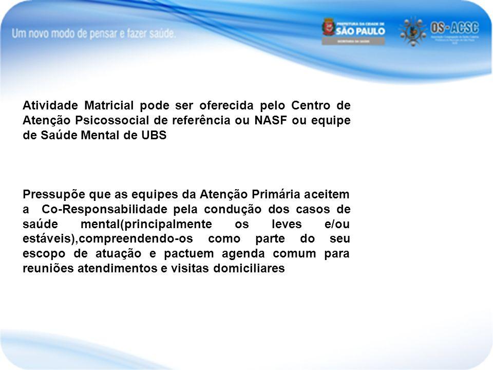 Atividade Matricial pode ser oferecida pelo Centro de Atenção Psicossocial de referência ou NASF ou equipe de Saúde Mental de UBS