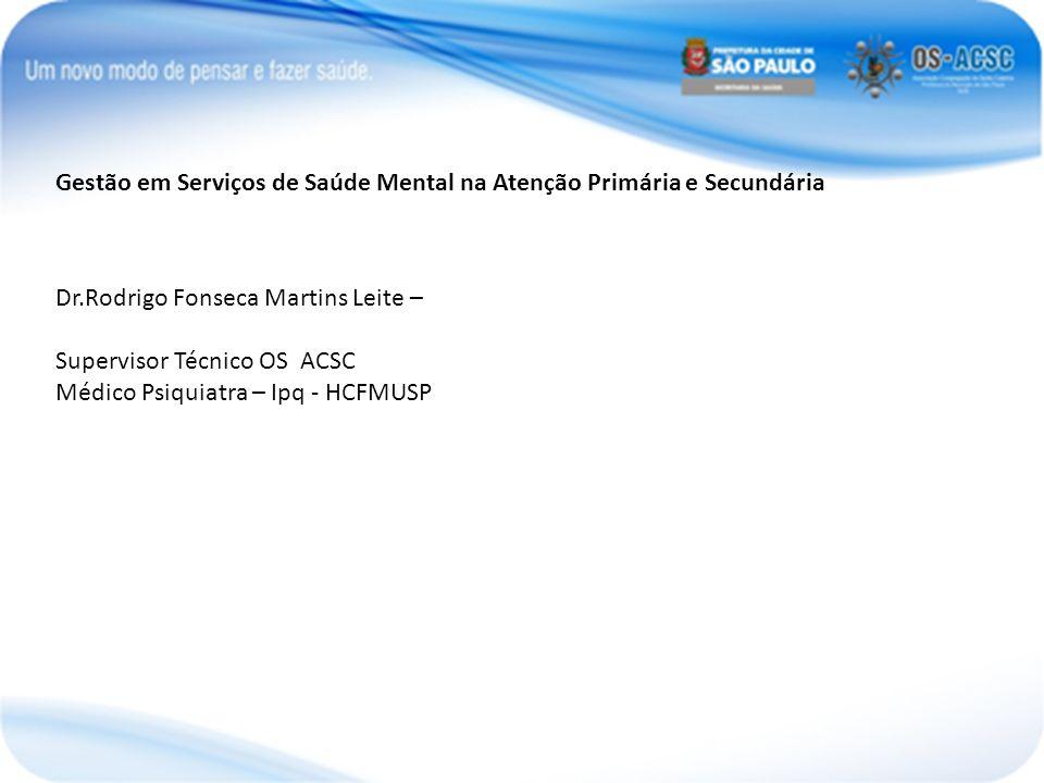 Gestão em Serviços de Saúde Mental na Atenção Primária e Secundária