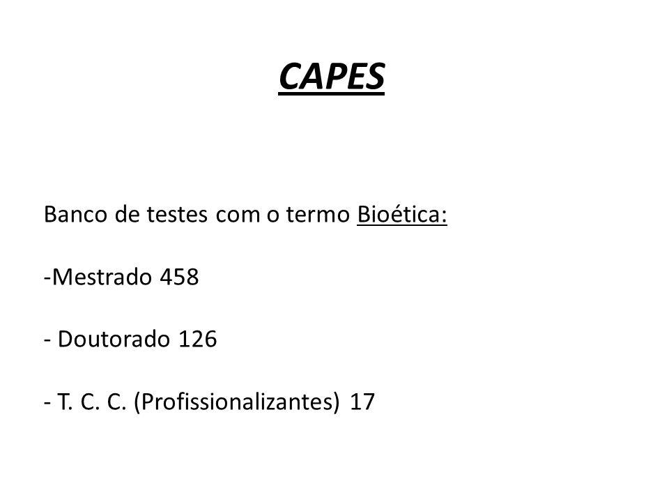 CAPES Banco de testes com o termo Bioética: Mestrado 458 Doutorado 126
