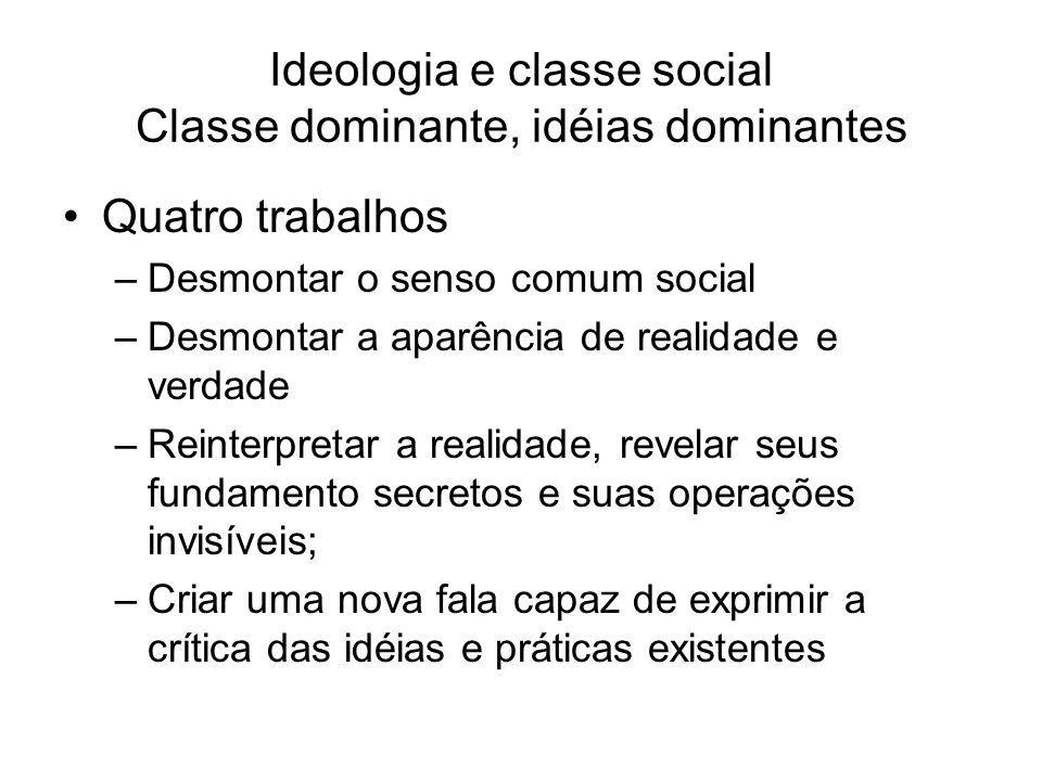 Ideologia e classe social Classe dominante, idéias dominantes