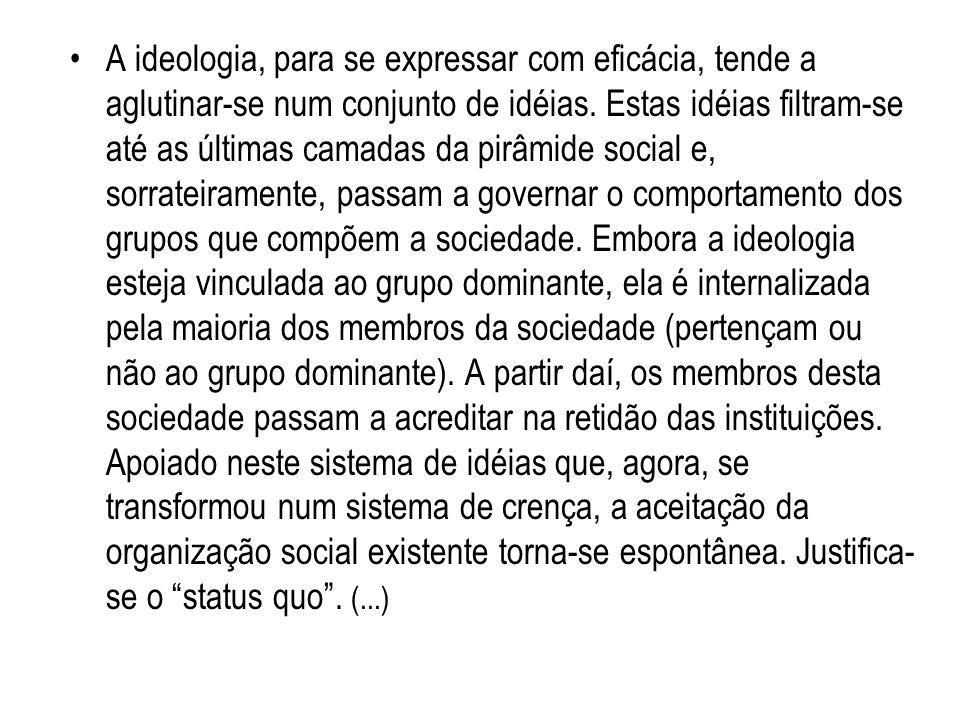 A ideologia, para se expressar com eficácia, tende a aglutinar-se num conjunto de idéias.