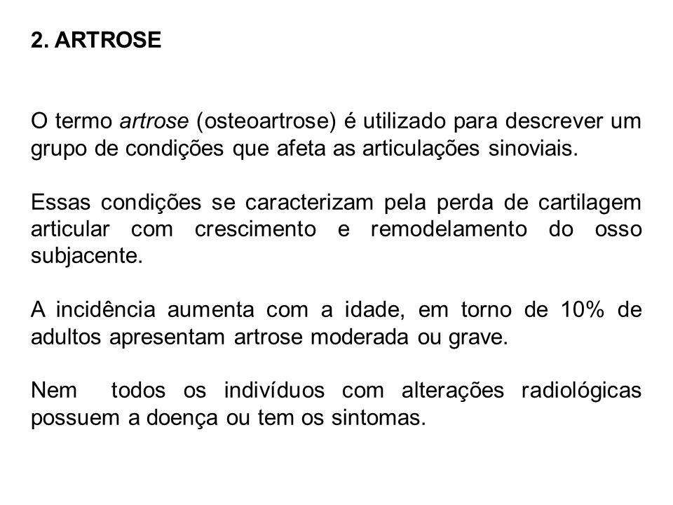 2. ARTROSE O termo artrose (osteoartrose) é utilizado para descrever um grupo de condições que afeta as articulações sinoviais.