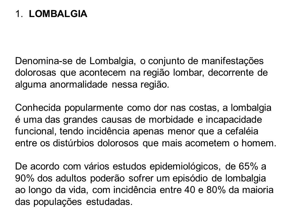 LOMBALGIA Denomina-se de Lombalgia, o conjunto de manifestações. dolorosas que acontecem na região lombar, decorrente de.