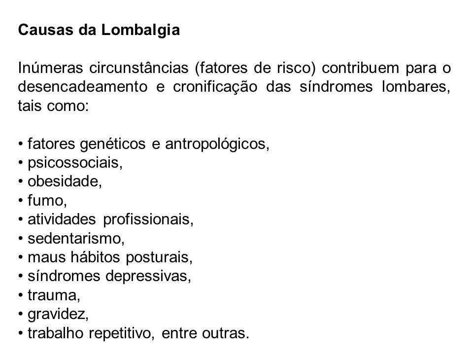 Causas da LombalgiaInúmeras circunstâncias (fatores de risco) contribuem para o desencadeamento e cronificação das síndromes lombares, tais como: